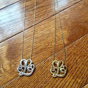 Set of 'L' monogram necklaces